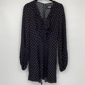 REFORMATION BLACK PUSSY BOW MINI LONG SLEEVE DRESS
